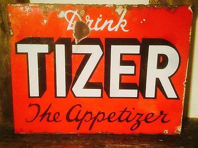 """RARE Red """"Drink Tizer The Appetiser"""" Enamel Sign DOUBLE SIDED original FREE POST"""