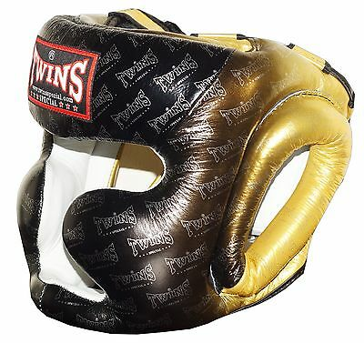 Twins Special Muay Thai Head Guard Protection FHG-TW1 BL/GD Free Shipping NEW
