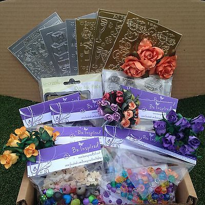 Craft Boxes Containing, Beads, Buttons, Flowers, Gems, Stamps, Ink. Job Lot