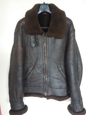 Vtg B-3 Sheepskin Leather Winter Flight Jacket Size Small
