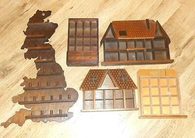 5 Wooden Thimble Display Case Displays In The Shape Of A House,dresser & Britain