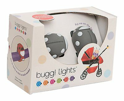 Buggi Lights for pushchair/pram/stroller Safety- One Size -Grey with white spots