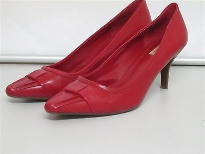 Smart Diana Ferrari Red Leather Shoes Pointed Toes Fits Size 9.5