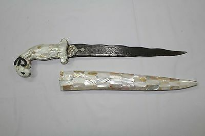 Dagger Knife Damascus Steel blade Mother Of Pearl Sheath Male sheep Face Handle