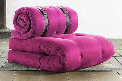 Chauffeuse BUCKLE UP futon rose couchage 70*200*24cm