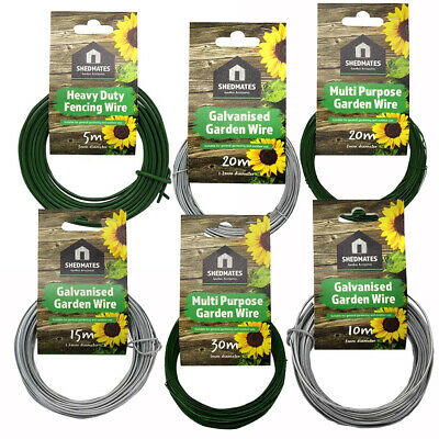 Garden and Fencing Wire - Green PVC Coated or Galvanised - Sizes 1mm to 3mm