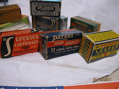 3 Excellent 22 LR Boxes 1930-40's Superior Long Peters Leader Staynless Vintage