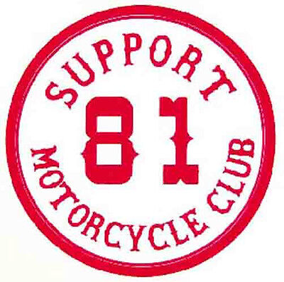 """""""Support 81 Motorcycle Club""""  Biker  1960's Vintage-Looking Travel Sticker/Decal"""