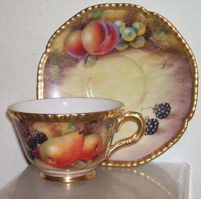 Royal Worcester Cup & Saucer Fruit Painted Gadroon Rope Edge - Signed J.smith