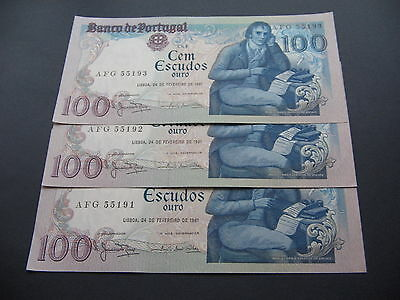 *scarce* Portugal 1981 100 Escudos 3X Unc Consecutive Numbers Bank Notes Crisps