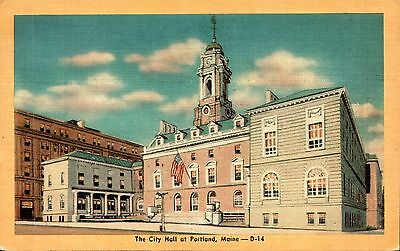 Portland, ME City Hall postcard unposted