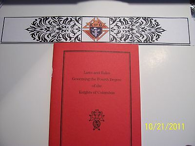 """KNIGHTS OF COLUMBUS - Book - 4th Degree """"Laws and Rules"""""""