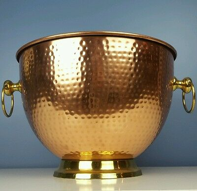 Extra Large Copper Decorative Bowl Hammered Brass Base Rings Centerpiece Vintage