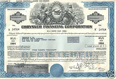 RARE BLUE & GREEN $100,000 CHRYSLER BONDS @ 4.99 Old Cars/Topless Ladies CV $100