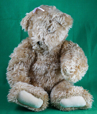 """Vermont Teddy Bear 22"""" Blonde 1995 Jointed Pink and Purple Ribbon"""