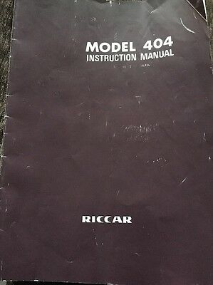 Riccar Sewing Machine 404 Instruction Manual