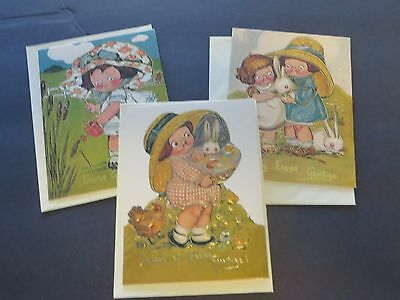 Lot of 3 DOLLY DINGLE Easter Cards Grace Drayton CAMPBELL KIDS