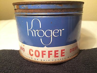 Vintage  Kroger Coffee Tin Can 1 lb Key Wind Style with Lid