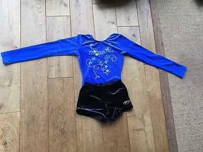 Girl's Zone Gymnastics Blue Leotard and Shorts 32""