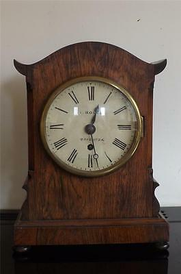 Bracket clock fusse rosewood cased pagoda top. Victorian