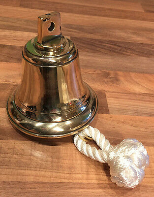 Vintage Cast Brass Ships Bell with Clapper & Rope Nautical Maritime Marine Boat