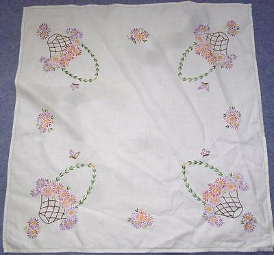 Vintage Floral Baskets/butterflies Motifs Superbly Embroidered Linen Tablecloth
