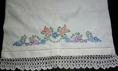Vintage 1920's Crochet Edged Embroidered Hand Towel