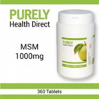 MSM 1000mg ONE YEARS SUPPLY - 360 tablets Suitable Vegetarians and Vegans