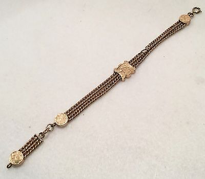 """c.1870s Victorian Rose & Yellow Gold Filled 8"""" Long Pocket Watch Chain w/ Slider"""