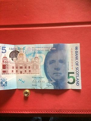 New Scottish £5 (five pound) Polymer Bank Note - 'Brig o' Doon' Serial AB00