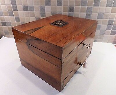 LOVELY GEORGIAN EARLY 19thC ROSEWOOD BOX WITH REMOVABLE DRAWER- GOOD LOCK & KEY