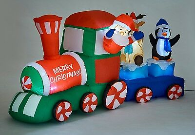 1095 Inflatable Santa & Friends Train Light Up Christmas Decoration Outdoor 210