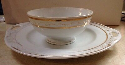 Bruder Schwalb Cake Plate And Bowl White with gold trim