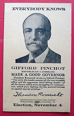 Gifford Pinchot, Political Hand Out, Circa 1931, Running For Pa. Governor, Clean