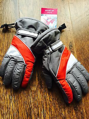 New Mens Ladies Ski Snow  Quality Gloves Grey red size small