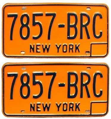 New York 1981-1986 License Plate Pair 7857-BRC, Broome County, Can Be Registered