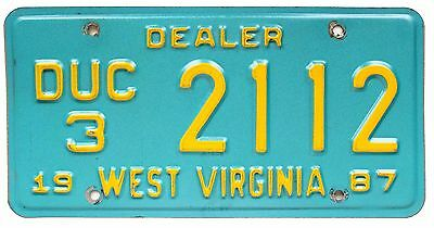 Vintage West Virginia 1987 USED CAR DEALER License Plate, 2112, Yellow on Blue