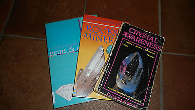Crystal Books x3 Gems & Crystals, Rocks & Minerals,and Crystal Awareness