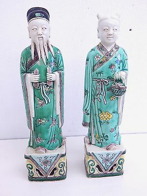 Antique Chinese Famille Rose Pair of Porcelain Figures Man & Woman Beautiful