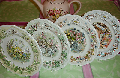 "Royal Doulton Brambly Hedge Four 4 Seasons 8"" Plates Spring Summer Autumn Winter"