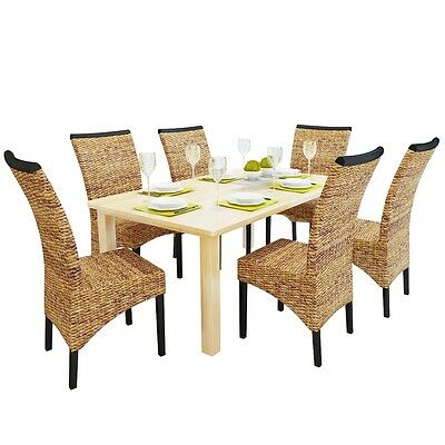 #sNew Brown Abaca Handwoven Dining Chair Set Rattan 6 pcs Living Room Side Chair