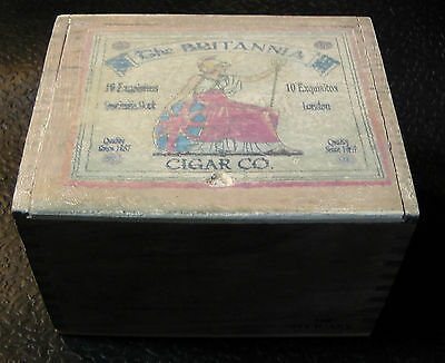 SHABBY CHIC WORN STYLE BRITTANIA CIGAR BOX - for crafts  jewelry  guitar STOMP