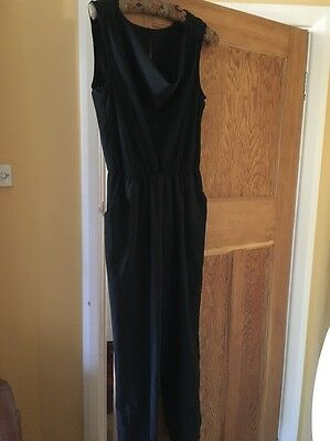 Vintage 80's Black Sleeveless Pleated Evening Party Tapered Leg Jumpsuit M