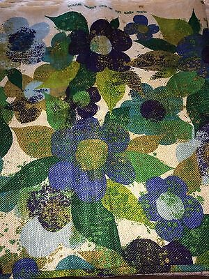 "Vtg Mod Flower Power 100% Imported Linen Fabric 5 Yds x 48"" W Blues & Greens"