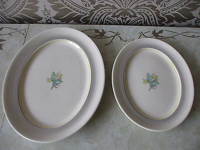 Gray's Pottery Art Deco Hand Painted Lily of the Valley Pair Oval Serving Plates