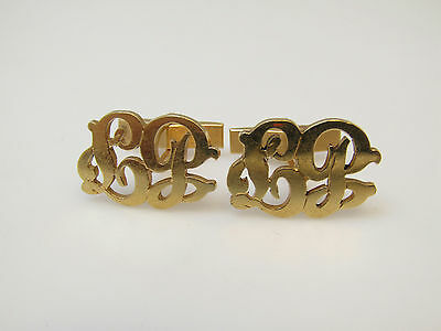 """14k Yellow Gold Jewelry Men's Cufflinks With Initials """"LB"""""""