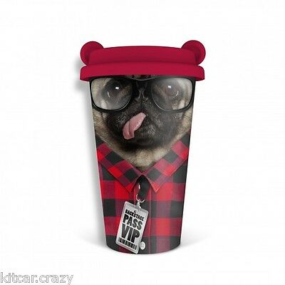 Coffee Crew Pug Dog Double Walled Ceramic Insulated Travel Mug With Lid