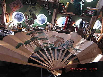 """Large Vintage Chinese Hand Painted Fan 68 X 39"""""""