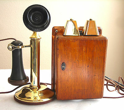 Western Electric Brass Candlestick & Rare Cow Bells  Restored Antique Telephone