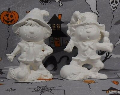 Halloween Scarecrows (H40) Set of 2 Ceramic Bisque You Paint